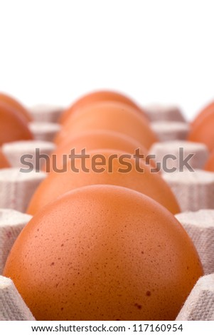 Eggs in the package isolated on white background - stock photo