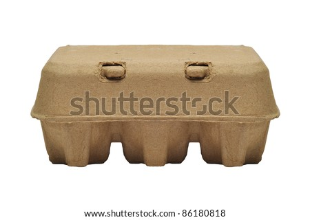 eggs in the package on white background - stock photo