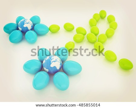 Eggs in the shape of a flower with Earth. Global holiday concept. Unique Design. 3D illustration. Vintage style.