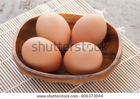 eggs in wood dish