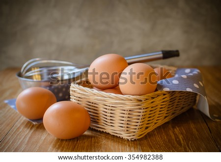 eggs into one basket placed on a wooden table