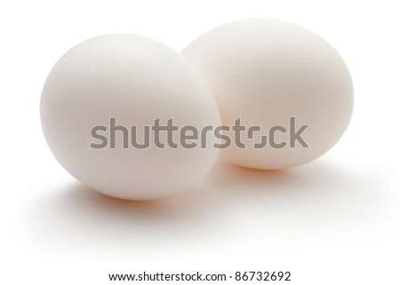 Eggs isolated on the white background - stock photo