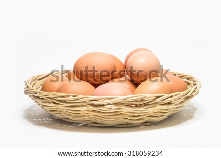 eggs isolated on white background, select focus - stock photo