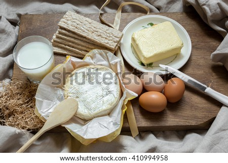 Eggs, milk, butter are healthy natural food