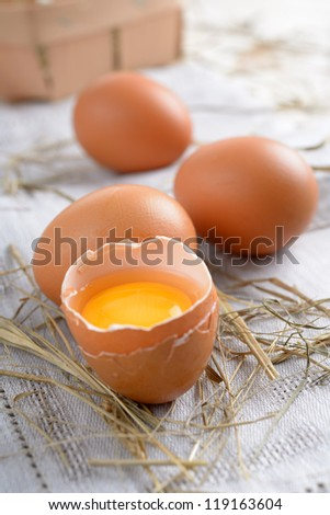 Eggs on a rustic table closeup