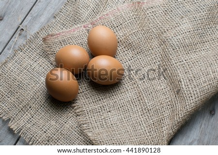eggs on the texture of burlap
