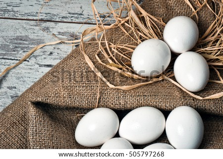 Eggs on the vintage table