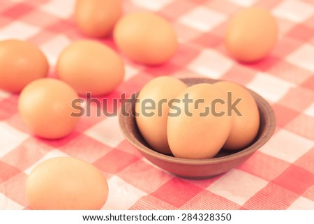 eggs put on the table in the kitchen - stock photo