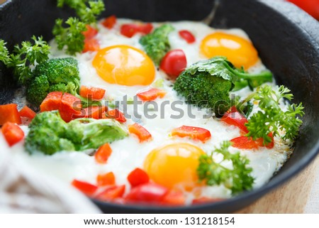 eggs with broccoli and peppers in a pan, closeup