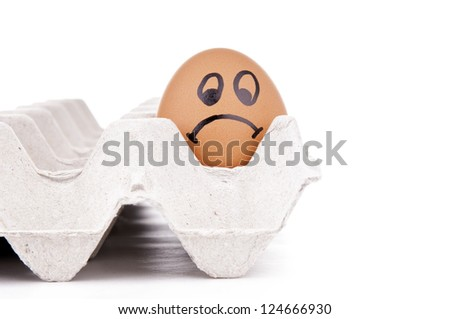 Eggs with human characteristics isolated on white as mental health concept