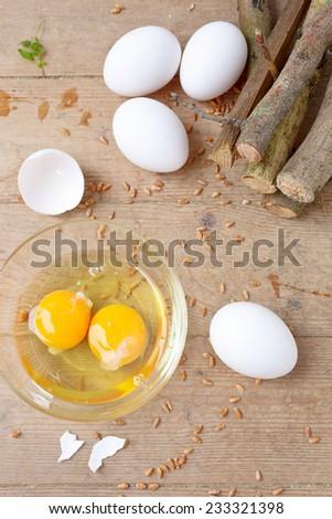 Eggs with yolk . - stock photo