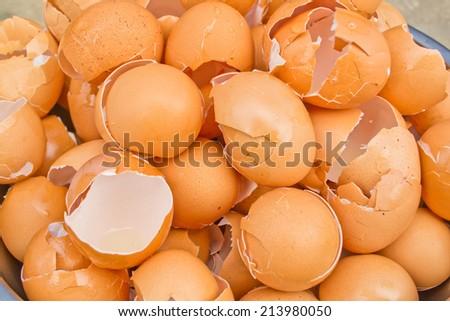 eggshell broken brown, Crack the egg - stock photo