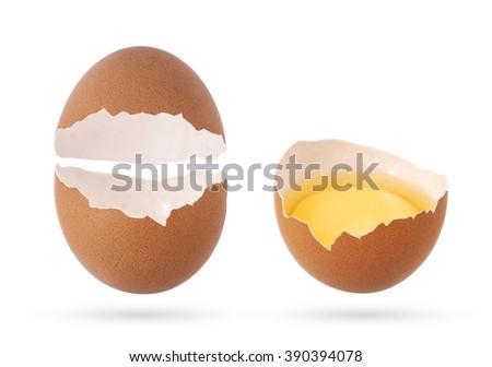 Eggshell, broken empty egg isolated on white background.   - stock photo