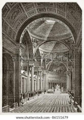 Eglise de la Madeleine interior, old illustration, Paris. Created by Desmarest and Pisan, published on Magasin Pittoresque, Paris, 1843