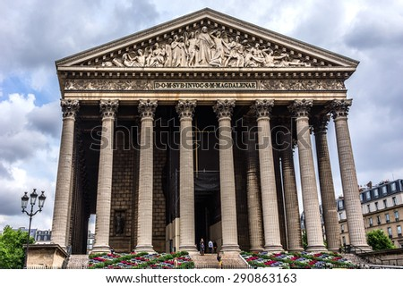 Eglise de la Madeleine, one of most famous churches of Paris, France. Madeleine Church was designed in its present form as a temple to the glory of Napoleon's army.