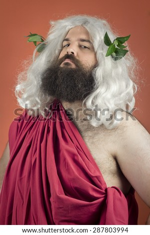 Egocentric zeus god or jupiter against orange background - stock photo