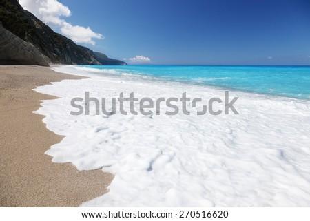 Egremni beach, Lefkada ,Greece - stock photo