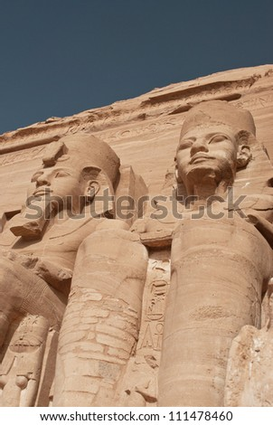 Egypt. Abu Simbel Temple of Rameses II (The Great Temple) situated on the western bank of Lake Nasser. The Abu Simbel Temples is part of the UNESCO World Heritage Site since 1979