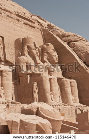 Egypt. Abu Simbel Temple of Rameses II (The Great Temple) situated on the western bank of Lake Nasser. The Abu Simbel Temples is part of the UNESCO World Heritage Site since 1979 - stock photo