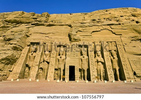 Egypt. Abu Simbel. The Temple of Hathor and Nefertari (the Small Temple) situated on the western bank of Lake Nasser. The Abu Simbel Temples is part of the UNESCO World Heritage Site since 1979