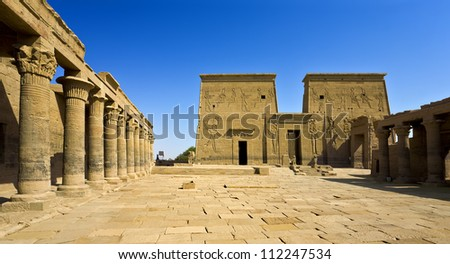 Egypt. Agilkia Island (or Agilika Island) in Lake Nasser. Philae Temple of Isis - the Western Colonnade and the First Pylons - stock photo