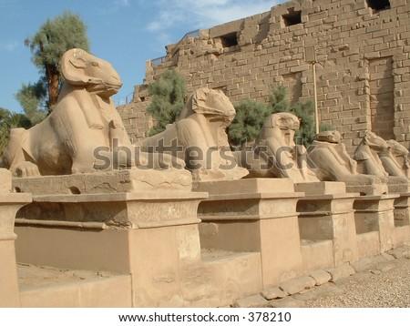 Egypt: Avenue of the Sphinx, Karnak - stock photo