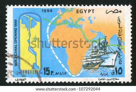 EGYPT - CIRCA 1994: A stamp printed by Egypt, shows Map of Africa, Ships, circa 1994 - stock photo