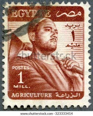 EGYPT - CIRCA 1952: A stamp printed in Egypt shows Farmer, series Agricultural, circa 1952 - stock photo