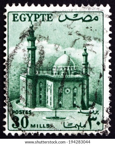EGYPT - CIRCA 1953: a stamp printed in Egypt shows Mosque of Sultan Hassan, circa 1953