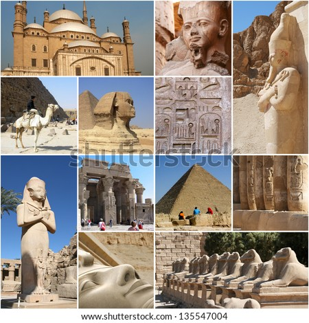 Egypt Collage - touristic highlights - stock photo