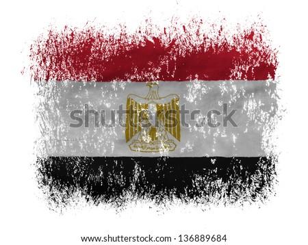Egypt. Egyptian flag  on white background - stock photo
