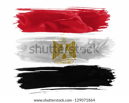 Egypt. Egyptian flag  painted with three strokes of paint in white - stock photo