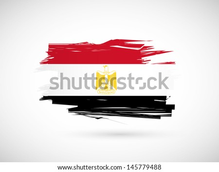 Egypt. Egyptian flag painted with watercolor. illustration design - stock photo