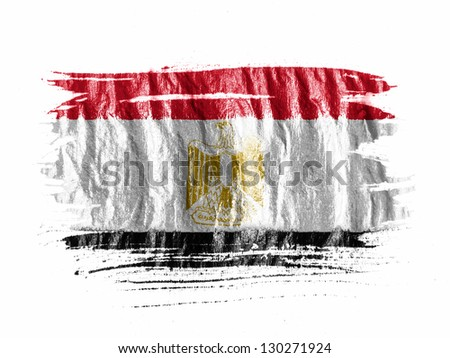 Egypt. Egyptian flag  painted with watercolor on wet white paper - stock photo