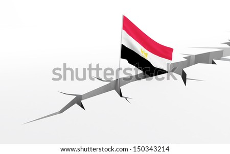 egypt flag crack in the ground - stock photo