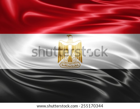Egypt flag of silk  - stock photo