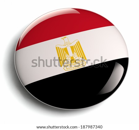 Egypt flag round isolated flag. - stock photo