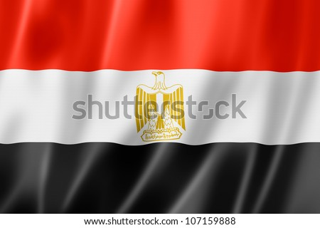 Egypt flag, three dimensional render, satin texture - stock photo