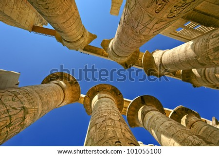 Egypt. Karnak Temple Complex - the Precinct of Amun-Re. Massive columns of the Great Hypostyle Hall - stock photo