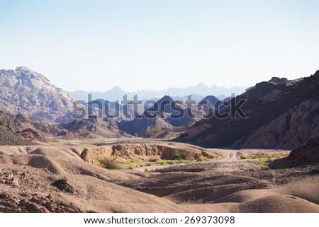 Egypt. Mountain landscape of the Sinai Desert - stock photo