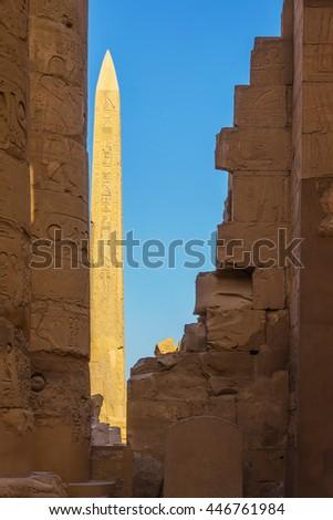 Egypt Obelisk Karnak. Obelisk in the ruins of the Temple of Karnak Luxor Egypt - stock photo