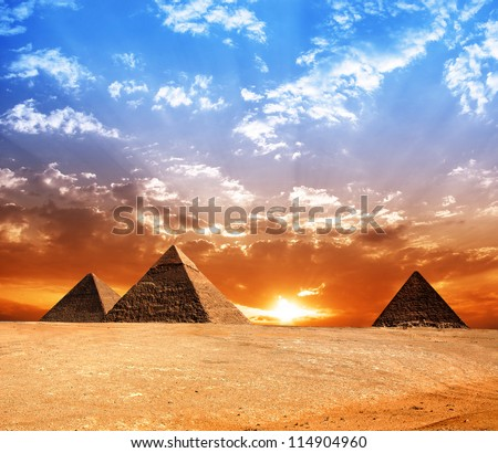 Egypt pyramid. Historic buildings. Panorama. - stock photo