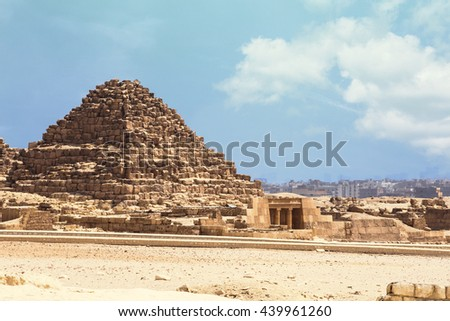 Egypt Queen Pyramids. A small pyramid for the Queen of Egypt, Giza - stock photo