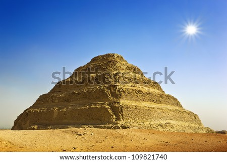 Egypt. Sakkara. The Step Pyramid of King Djoser (Zoser) of the 3rd Dynasty. The Pyramid Fields from Giza to Dahshur is on UNESCO World Heritage List - stock photo