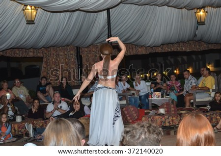 EGYPT, SHARM EL SHEIKH - DECEMBER 4/2013: Competition dancers held at the hotel.  One of the performances shown on the photo.