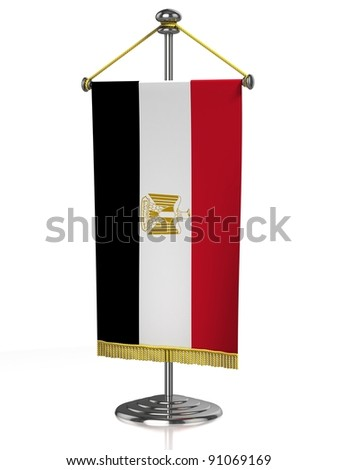 Egypt table flag isolated on white - stock photo