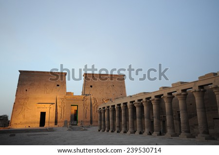 Egypt Temple of Philae from Nile - stock photo