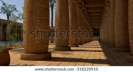 egypt temple patio with columns - stock photo
