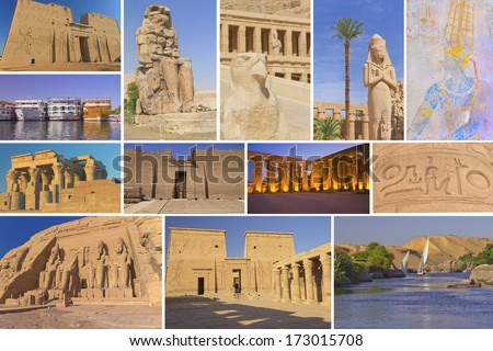 Egypt temples famous landmarks picture collage (Egypt) - stock photo