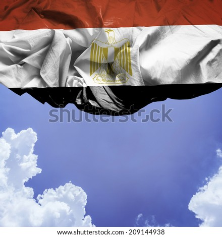 Egypt waving flag on a beautiful day - stock photo